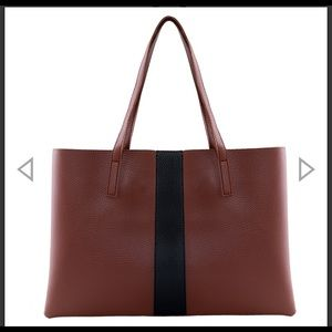 Vince Camuto Luck Tote Brown with Black strip